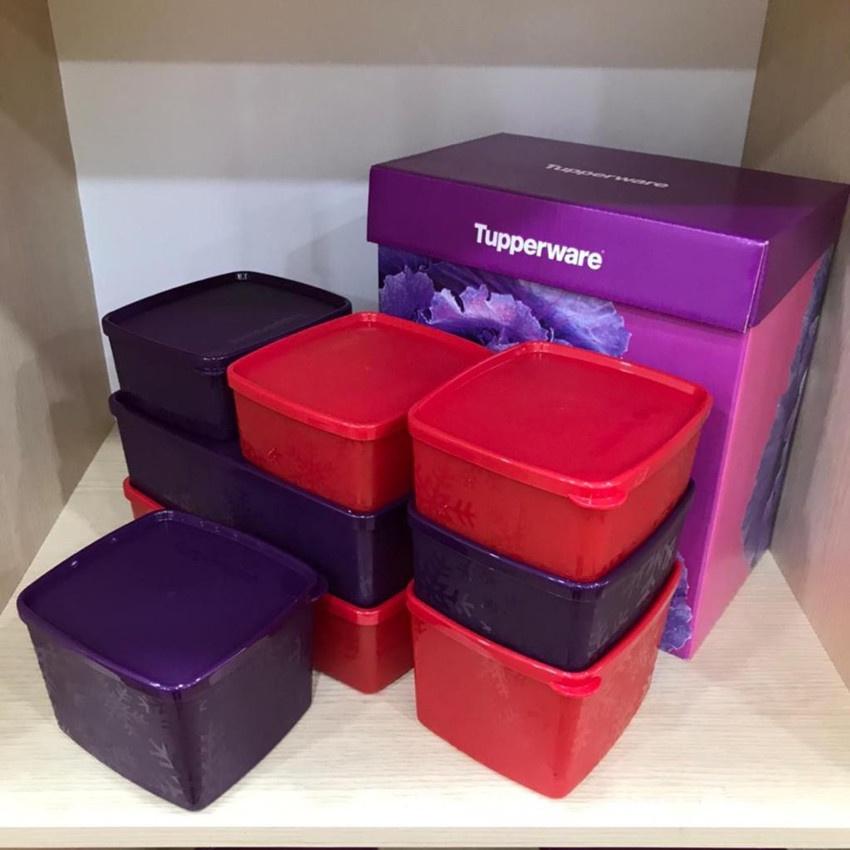 Tupperware Snowflake Square Round Set With Gift Box ( 8pcs )