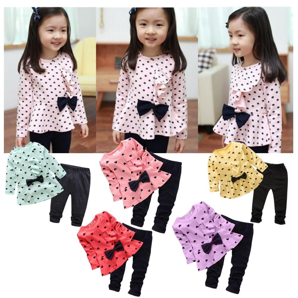 927f707eeec9b Lovely Baby Girls Casual Autumn Outfits Long Sleeve Heart T-shirt +Pants Set