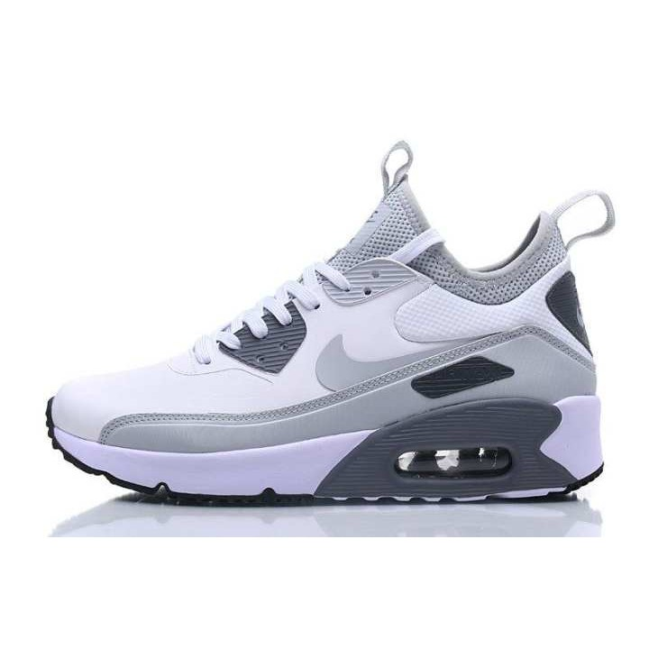 wadai Ready Stock Nike Air Max 90 Ultra Mid Winter Men's Running Sneaker Shoes Fashion Sport Shoes (WhiteGrey)