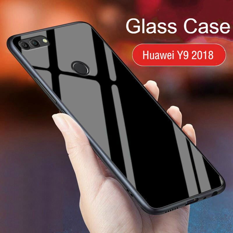 Huawei Y9 2018 Tempered Glass case Soft Frame Luxury clear glass cover  housing