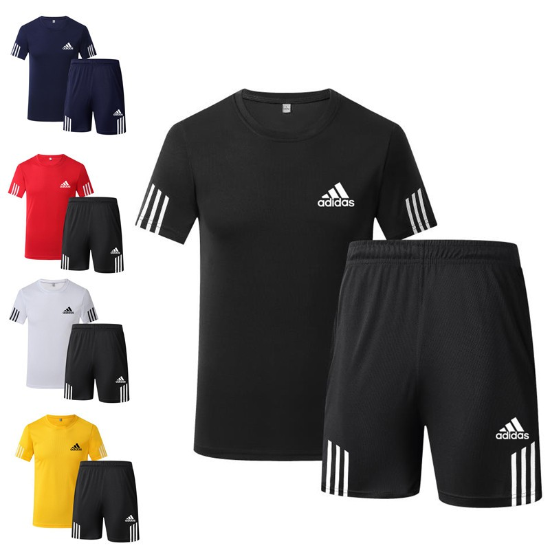 outlet on sale hot sale online wide range Adidas Short Sleeve T-shirt Set Men's Quick Dry Casual Sports Shorts  Five-cent Pants Popular Logo two-Piece Set