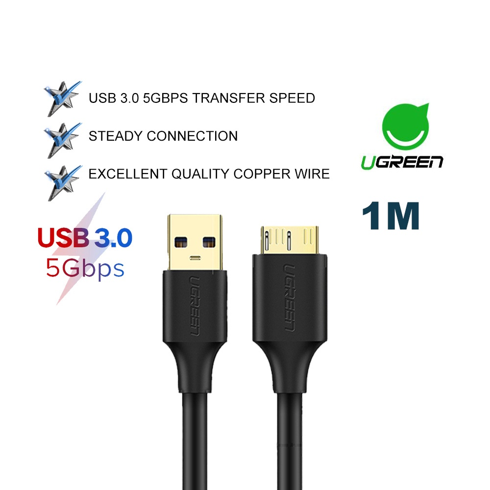 UGREEN Micro USB 3.0 External Hard Drive Disk Cable A Male to Micro B High Speed Samsung Note 3 S5 Camera Desktop
