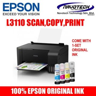 EPSON L3110 3 IN 1 ECOTANK PRINTER with ORIGINAL INK (L360 G2010 T310 315  CISS)
