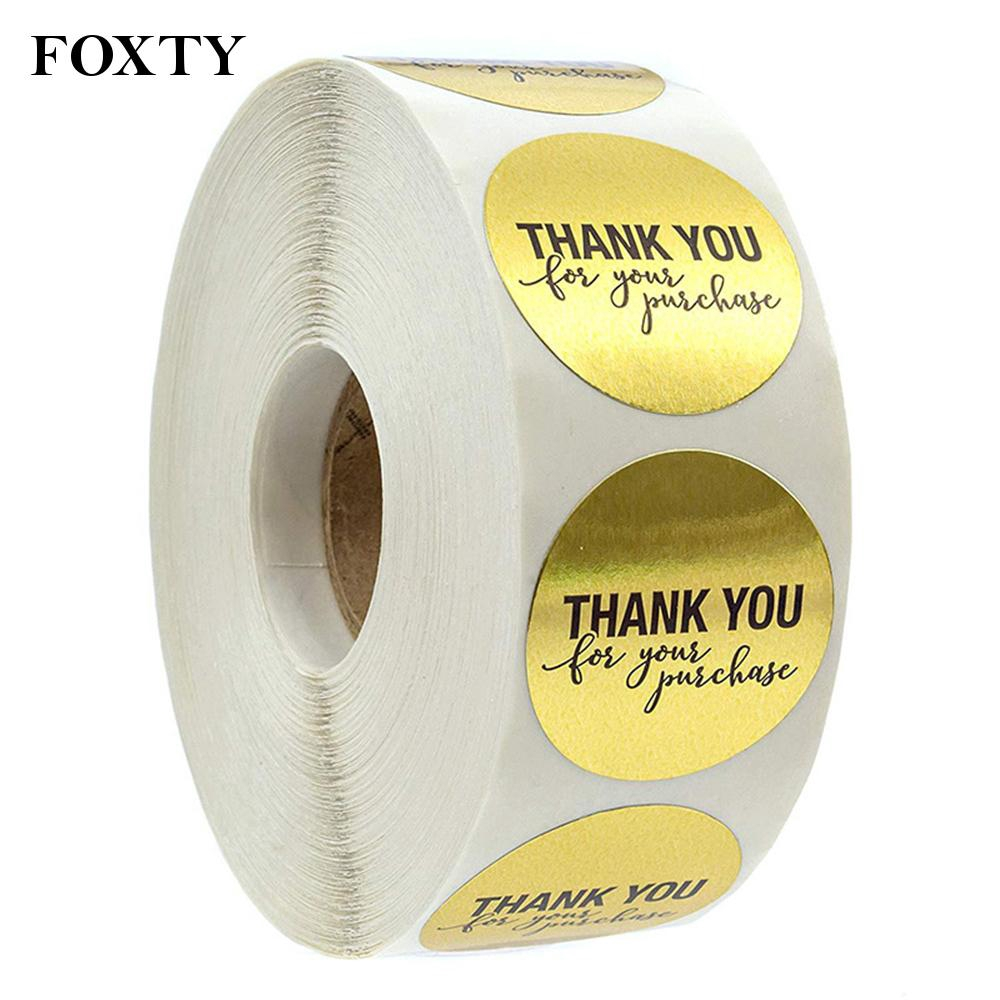 60 Large 40mm THANK YOU stickers Square Label Beige Brown wedding favours gift