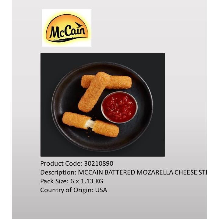 1 13kg Mccain Battered Mozzarella Cheese Sticks Shopee Malaysia