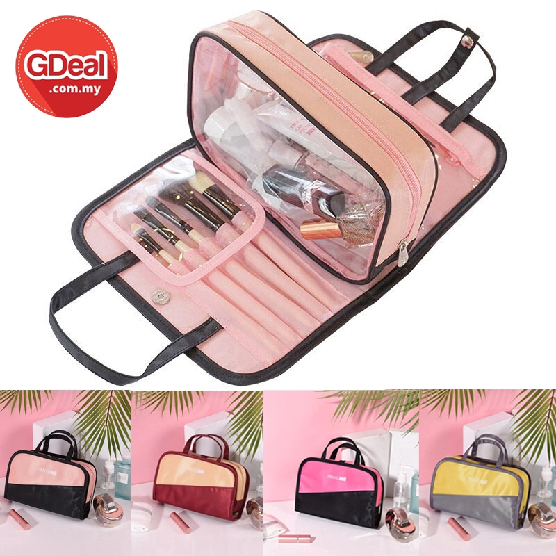 GDeal Top Women 2 in 1 Waterproof Makeup Storage Compact Travel Bag Portable Large Capacity Cosmetic Pouch Organizer