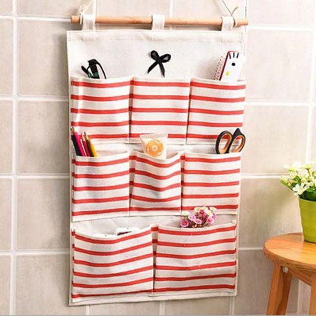 [ READY STOCK ]  8 Pockets Wall Hanging Storage Bag Bow Knot Makeup Cosmetic Organiser Kitchen Holder Jualan Murah Bag