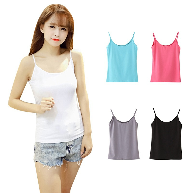 dc7d4a268f ❤ Cotton Women s Camisoles Female Thin Slim Halter Tanks Tops Sexy Camis
