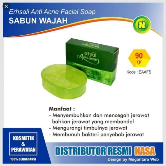 Ershali Anti Acne Soap - Sabun Jerawat - Sabun Cuci Muka Nasa