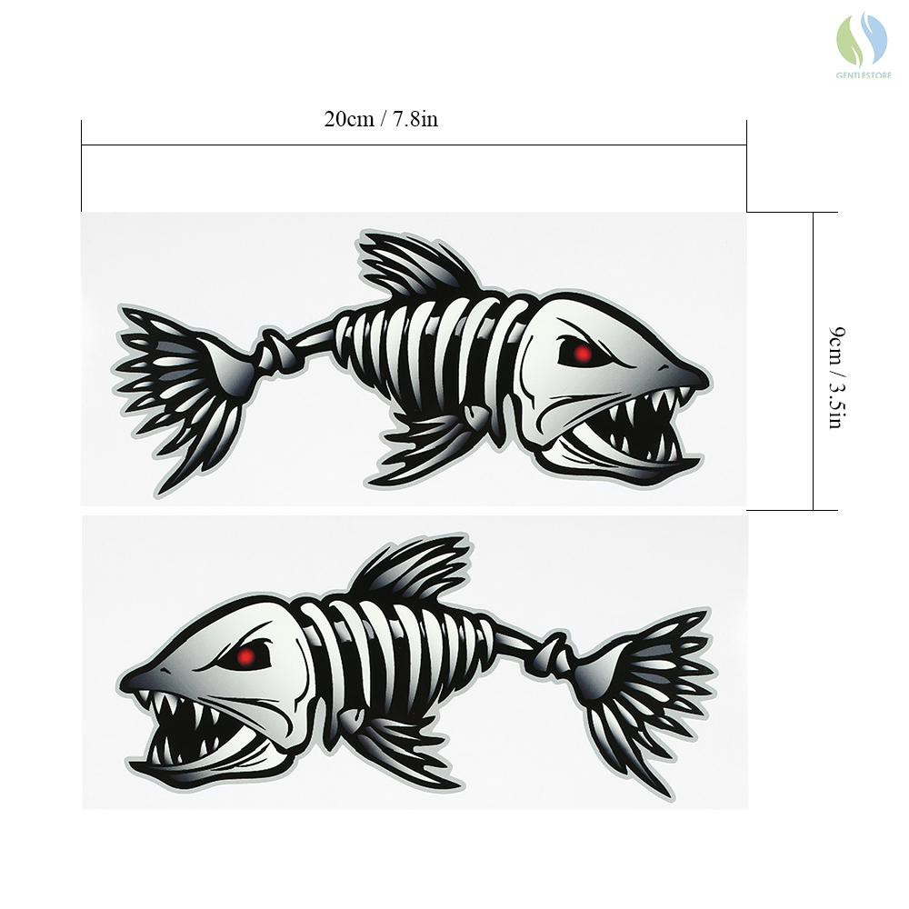 """2PCS 10/"""" x 5/"""" Fish Skeleton Decals Sticker Fishing Boat Graphics Ice Tackle"""