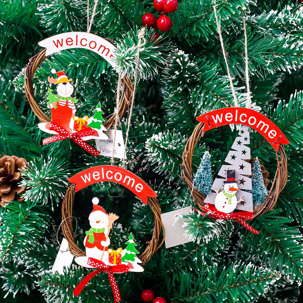Essential Christmas Decorations.Pendant Craft Decoration Christmas Santa Wreath Hangings Rattan Ring