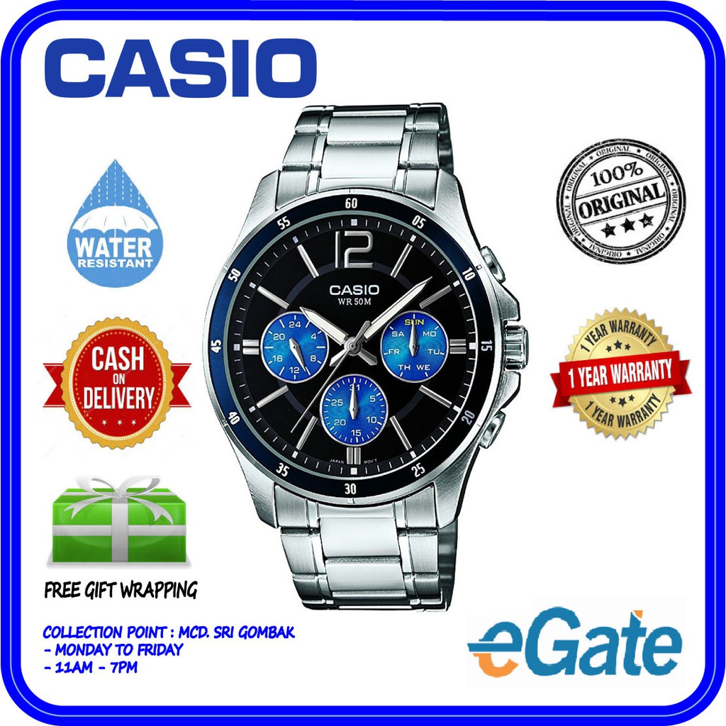 Casio MTP-1374D-2AV Men'S Analog Black-Blue Dial Quartz Original Watch