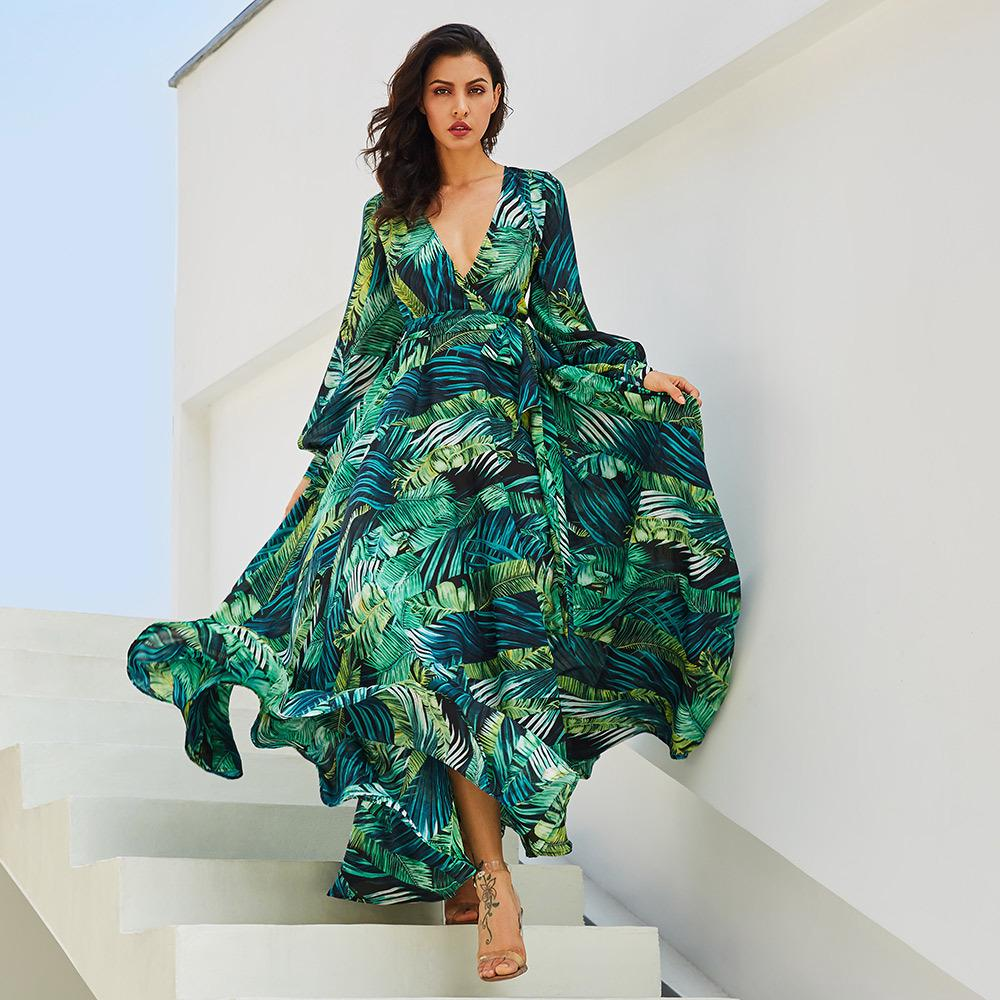 8678e624f8b9e Green Tropical Beach Vintage Maxi Dresses Boho V Neck Big A Line ...