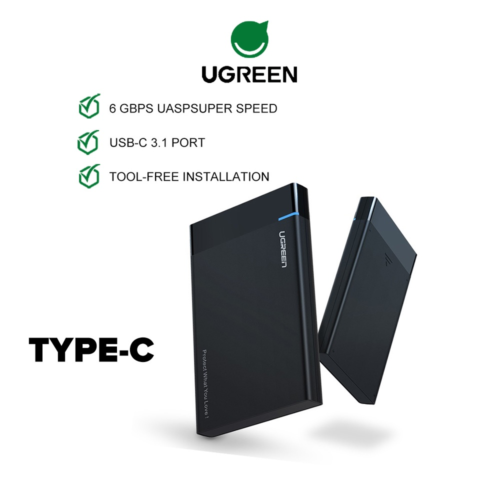 """UGREEN 2.5"""" Enclosure Hard Drive USB 3.0 USB C 3.1 Gen 2 SATA III for 2.5 Inch External Max 6Gbps SSD HDD PS4 Router"""