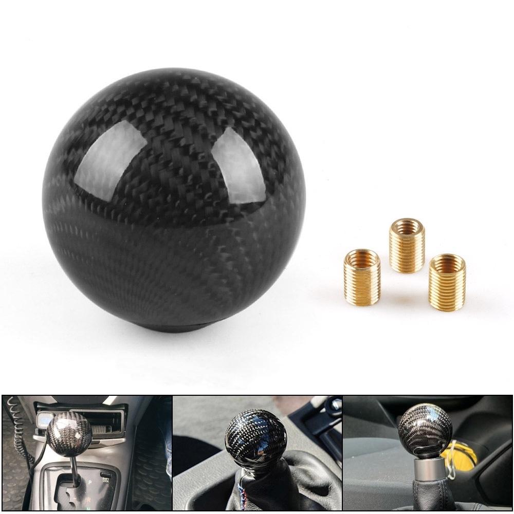 Black Carbon Fiber Style Leather Car Truck Manual Gear Shift Knob Handle Stick