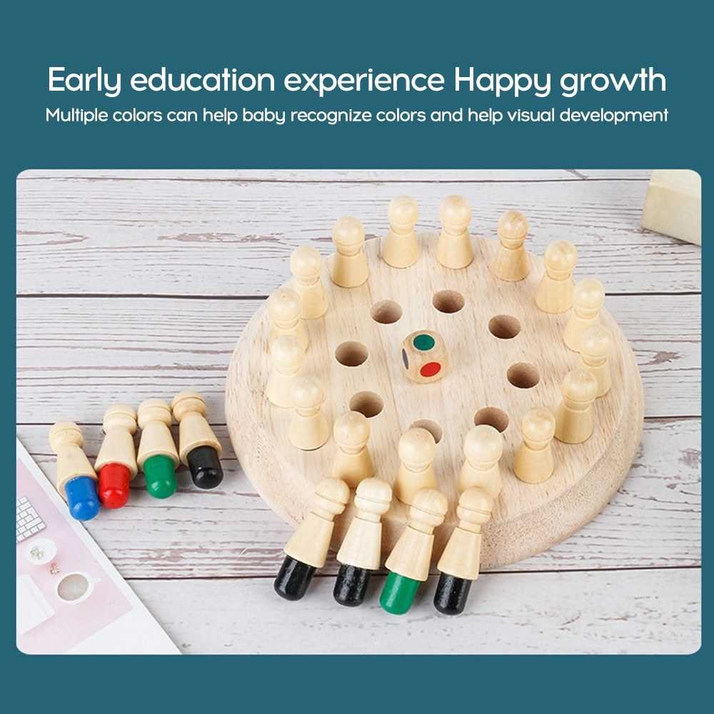 Wooden Memory Stick Chess Game Kids Fun Block Board Game Educational Color Cognitive Family Toys (Standard)