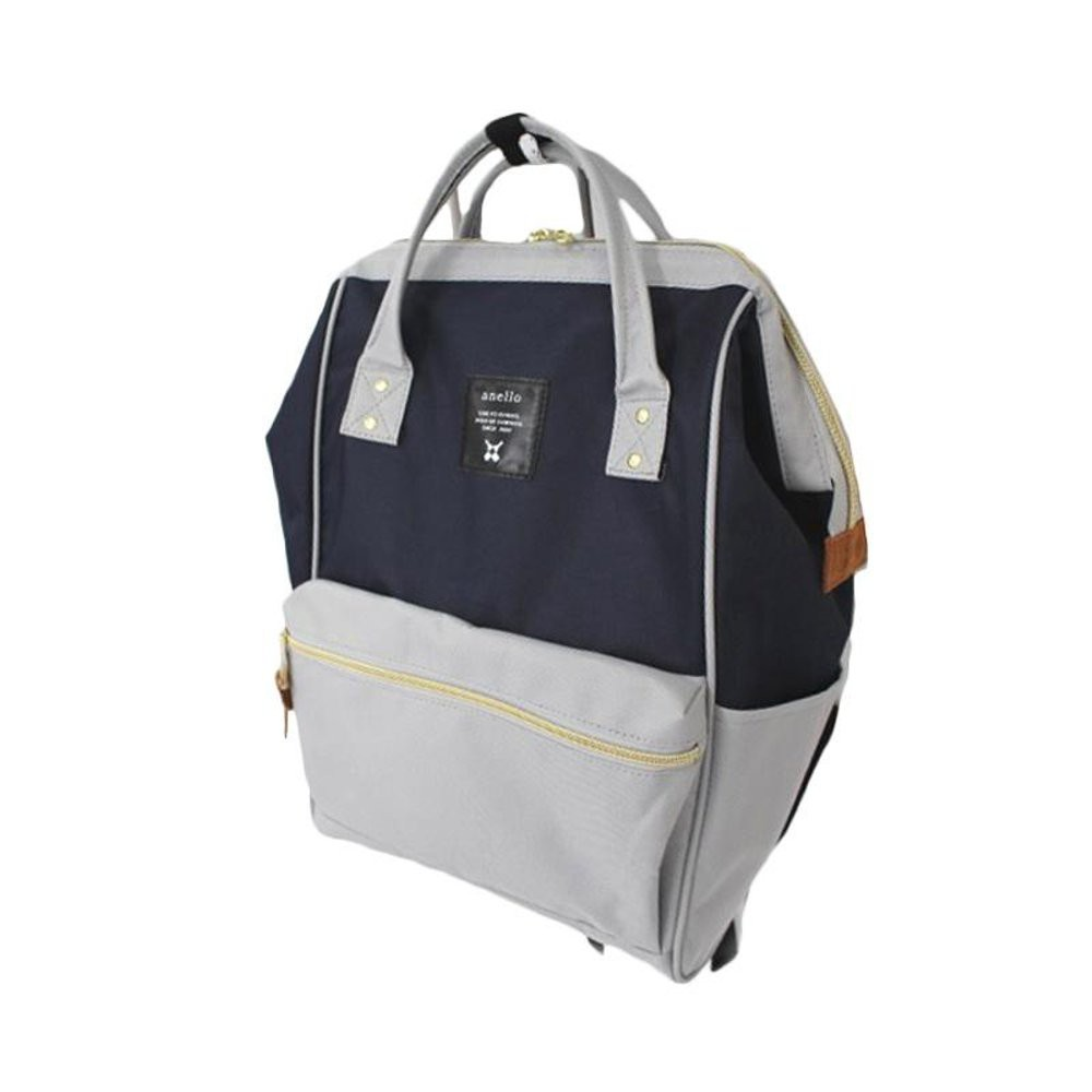 d9fda9575059 100% Authentic Anello Polyester Canvas Backpack (Navy Light Gray ...