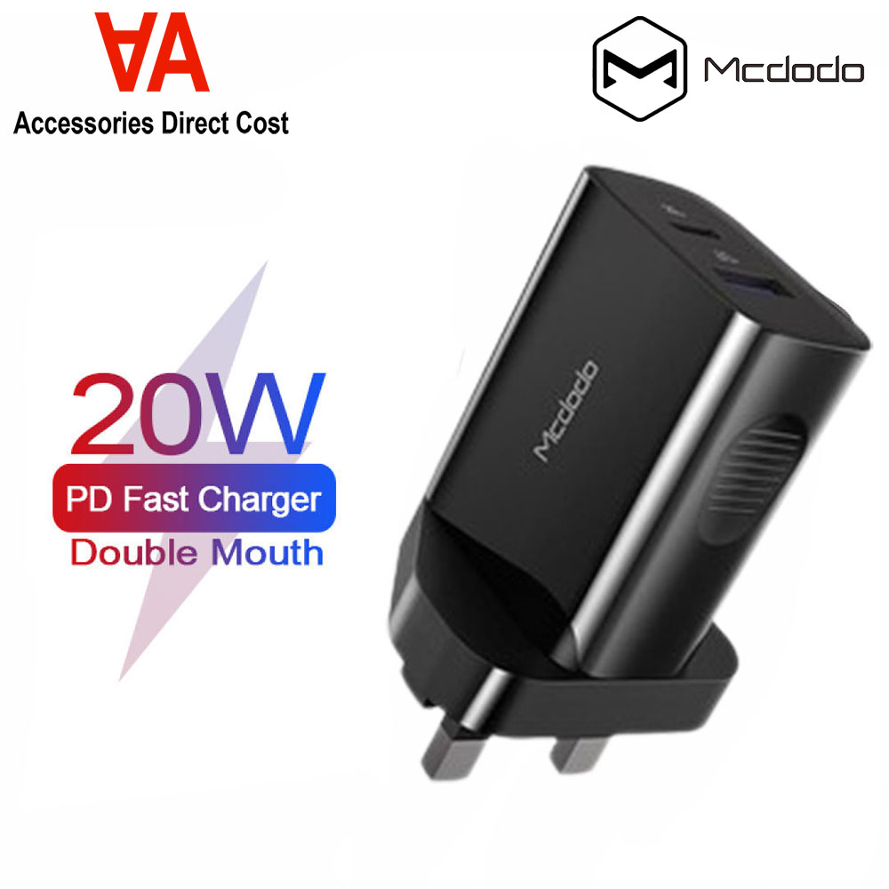 Original Mcdodo PD Fast Charge 20W CH-8401 UK Plug Dual USB Output Charger Support iPhone Fast Charge 2.4A Samsung QC3.0