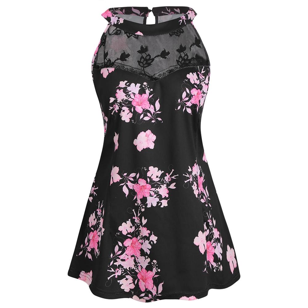 67a23a13986 Plus Size Floral Lace Panel Tank Top