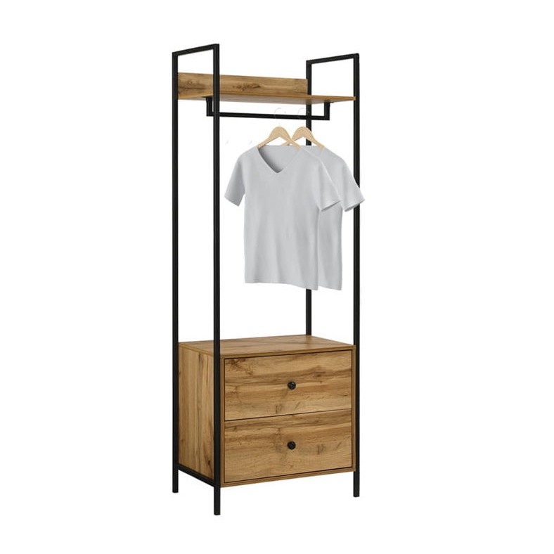 NORMAD industrial design garment rack with 2 drawers BR990093