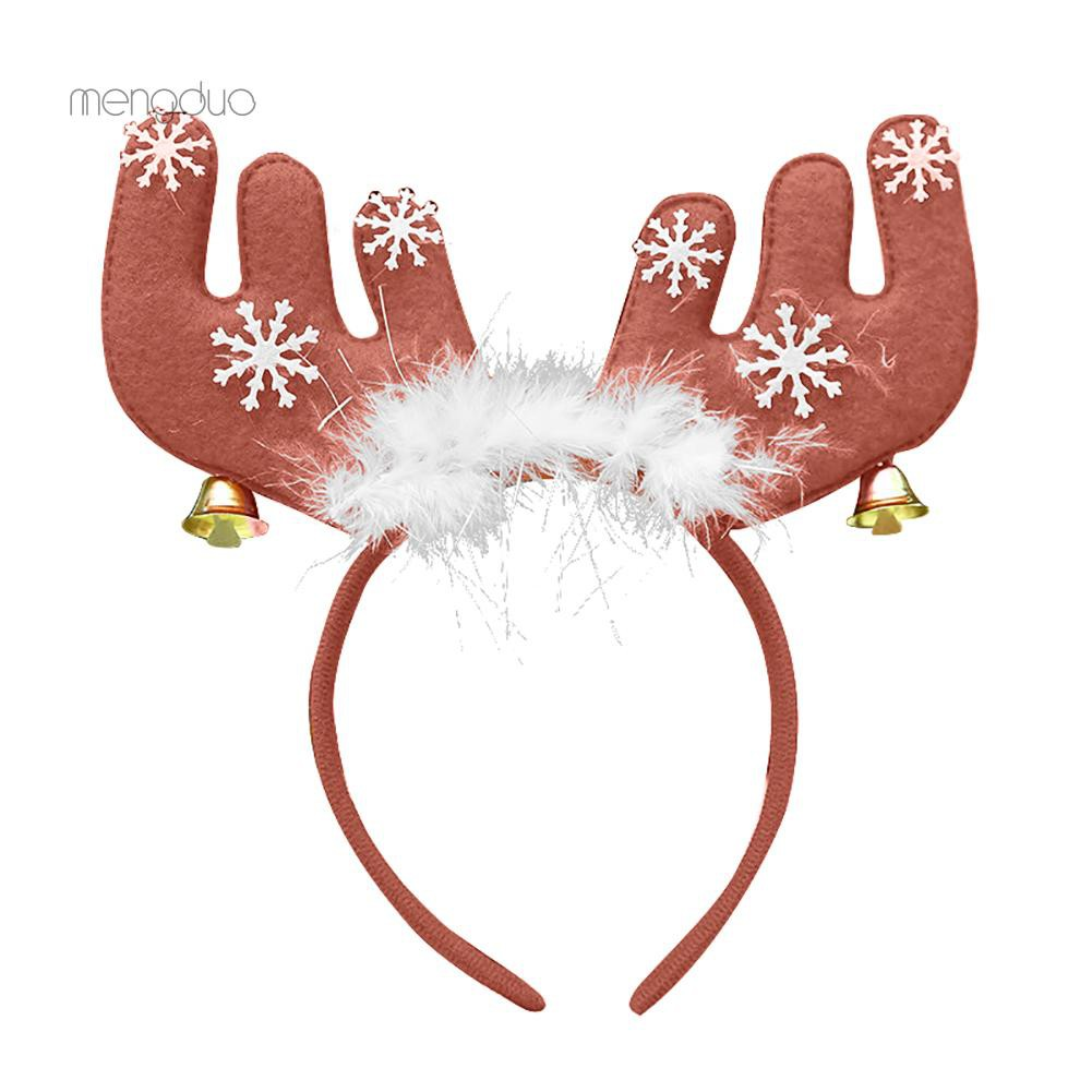 Christmas Ears Bell Feather Decorations Antlers Reindeer Headband Party Xmas