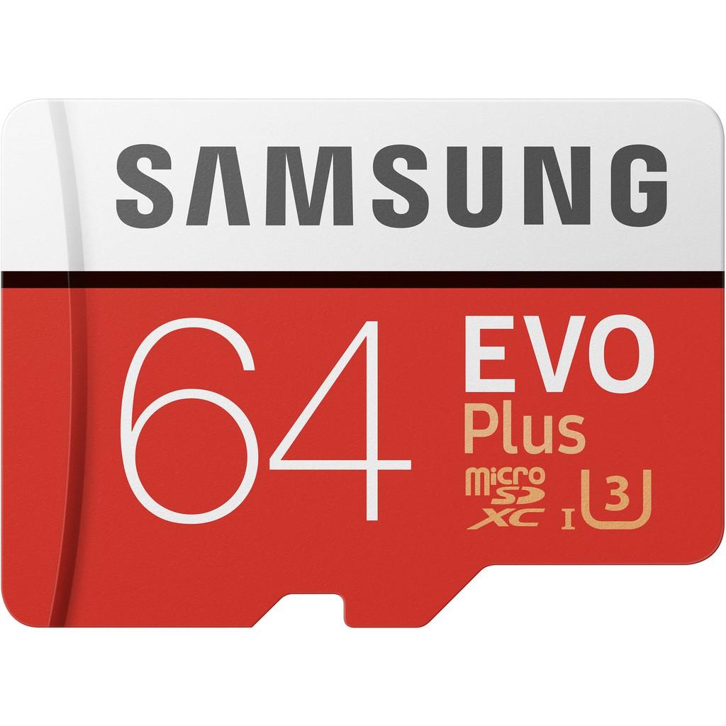 Samsung 64GB EVO Plus Grade 3 MicroSDXC Memory Card Class 10 w/adaptor MB-MC64GA