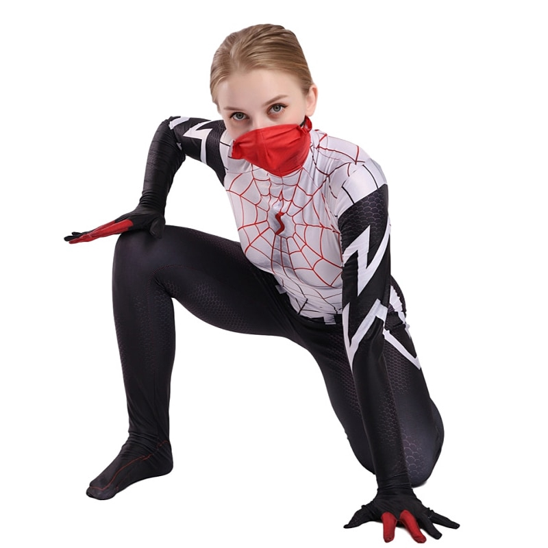 NEW 2018 Lady Silk Spiderman With Mask Cindy Halloween Cosplay Costume Jumpsuit