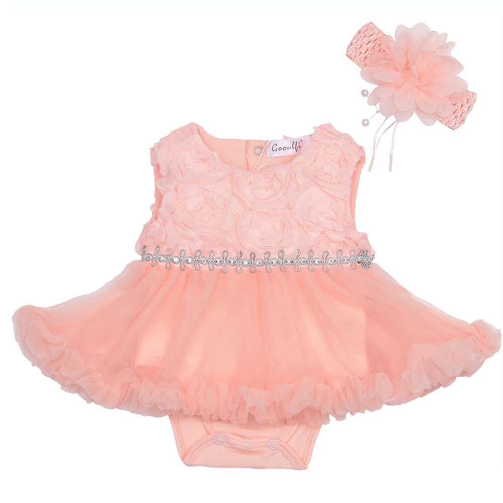 5e4a6c0df9a40 Gooulfi First Birthday Girl Party Newborn Dress Baby Girl Summer Solid  Floral Sleeveless Clothes Birthday Tutu Dress