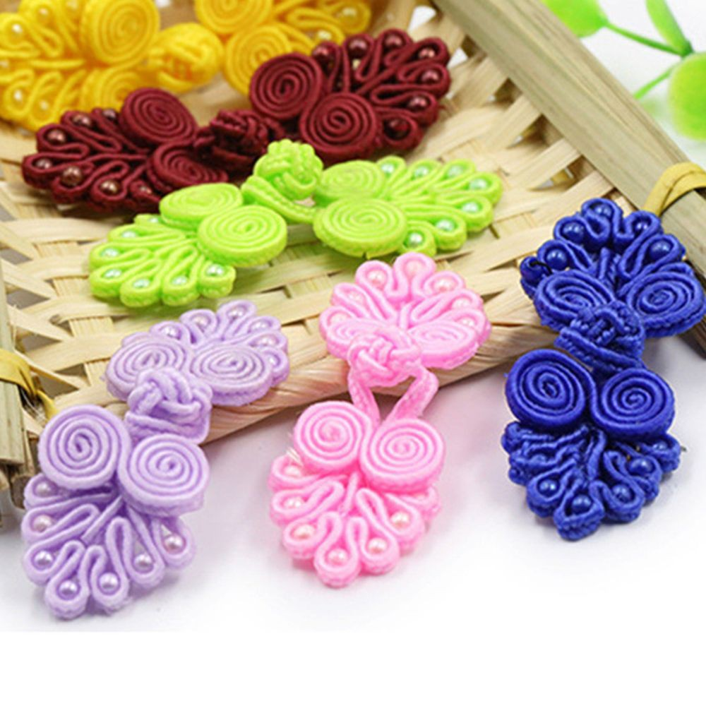 20 Sets Chinese Knots Frog Buttons Closures for Sewing on Tang Suit White