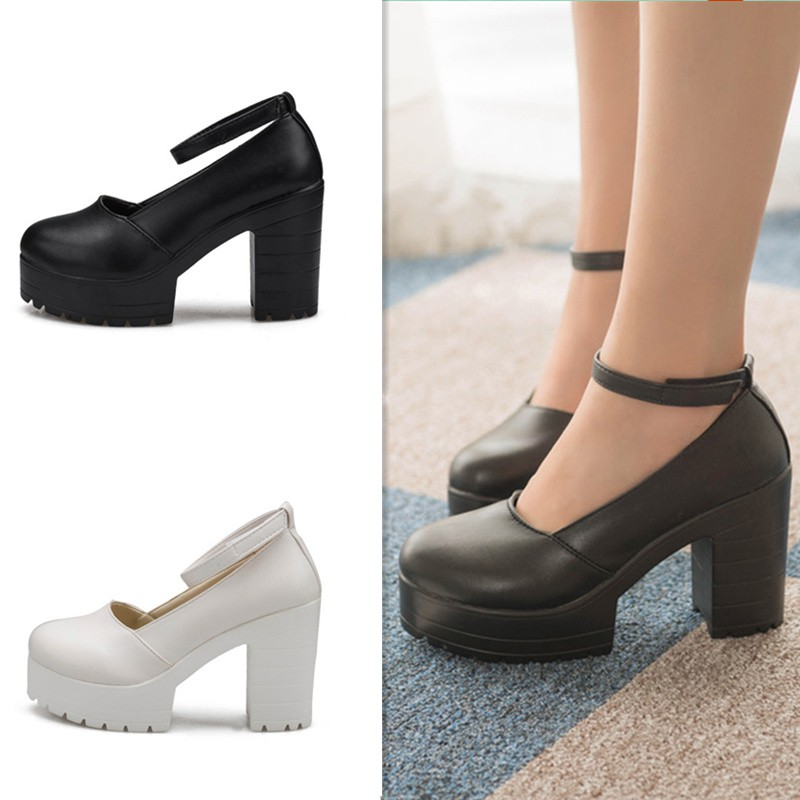 b499330da00 Buckle Platform Thick High Heels Square Heels Pumps Spring Summer Mary Janes