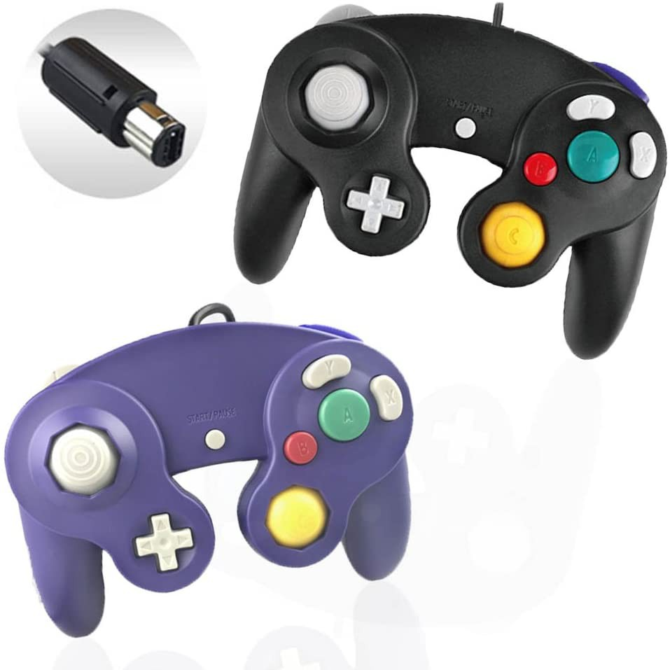 Reiso 2 Packs NGC Controllers Classic Wired Controller for Wii Gamecube(Black and Blueviolet)