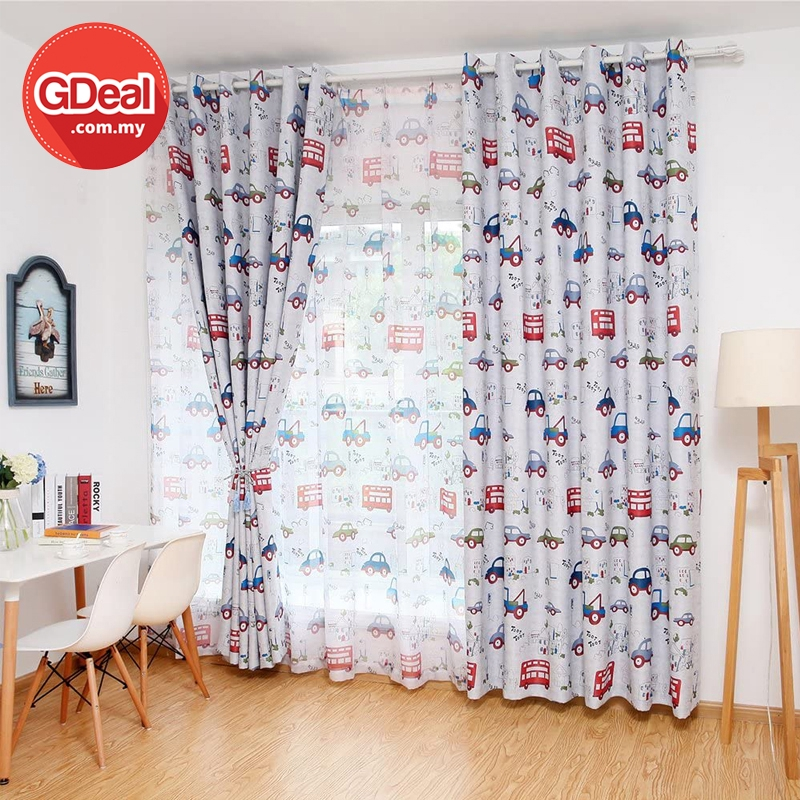 GDeal Transparent Curtains Home Boys Bedroom Printed Car Cartoon Window Tulle Voile Curtain Langsir (100CM X 250CM)