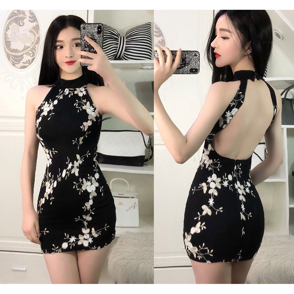 7b6ff928f11f Embroidered flowers sexy Hang neck big dew backpack hip tight dress |  Shopee Malaysia