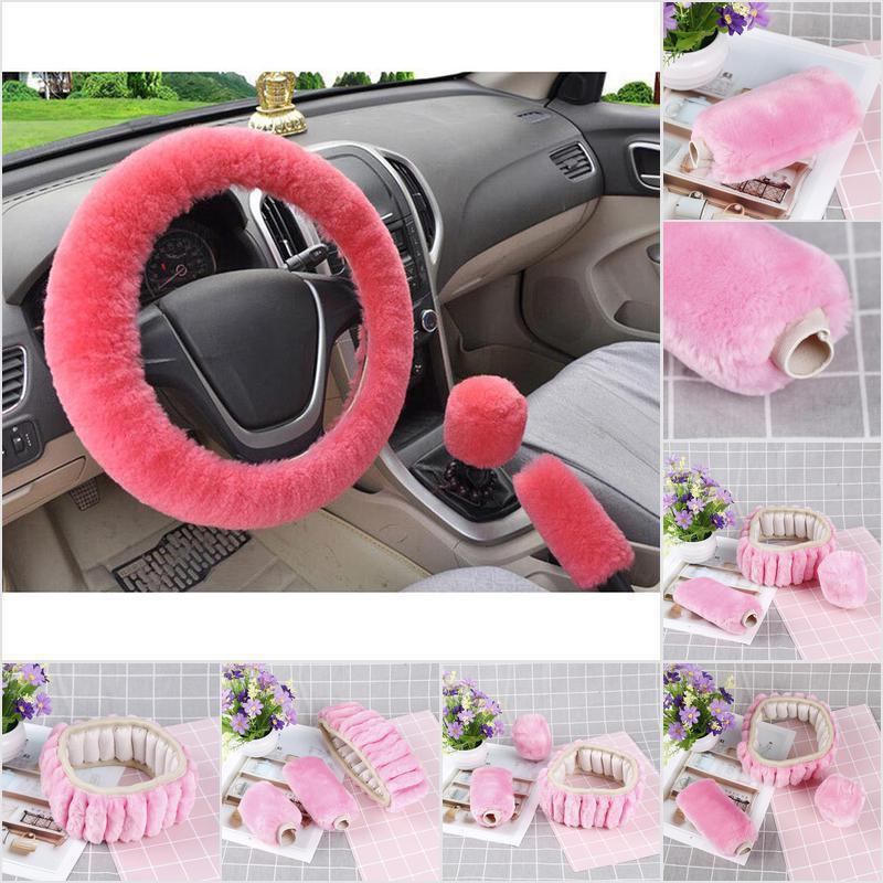 eing Plush Handbrake Cover Gear Shift Cover Seat Belt Cover 3 PCS//Set Car Interior Set Accessories Decor,Pink