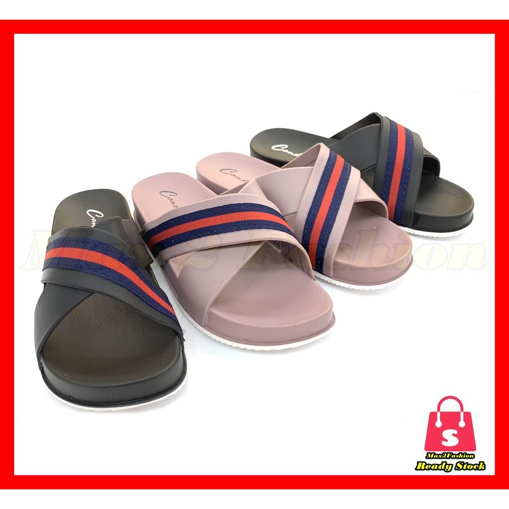 *C&T* (Ready Stock) Ladies Cross Fashion Platform Slipper Comfy & Non-slip Sandal
