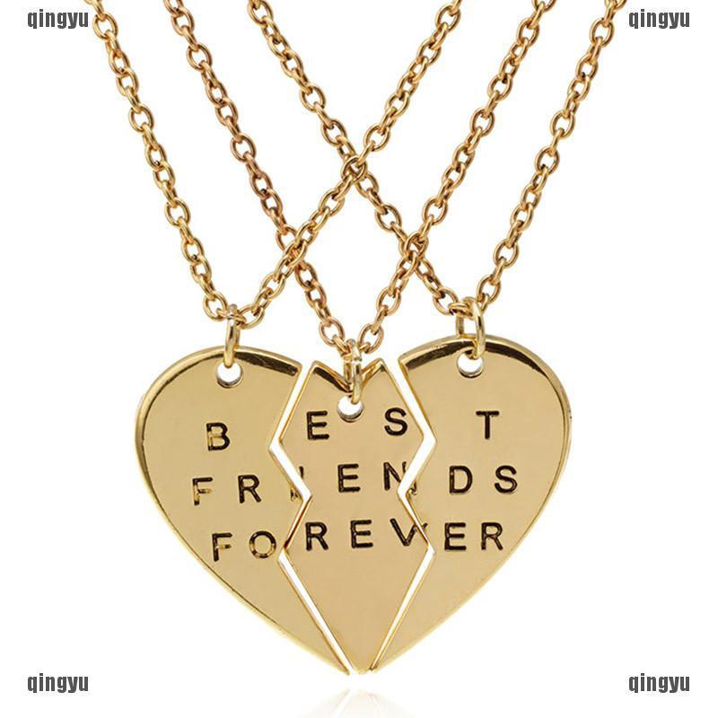 5c5b5756ed3dc QYMY Fashion 3x Broken Heart Pendant Necklace Chic Best Friends Forever  Necklace