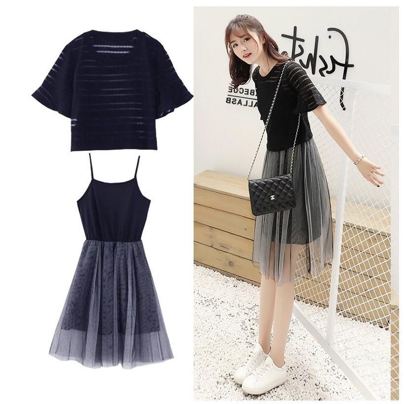 ed5951a74fe6c Small fresh suit dress mesh gauze skirt T-shirt two-piece