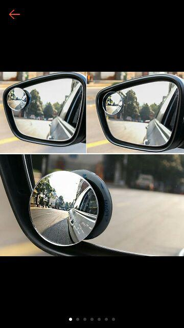 Vococal 2 PCS Universal Car Truck 360 Degree Rotation HD Glass Convex Wide Angle Blind Spot Mirror Rear View Glass with Back Self Adhesive Tape