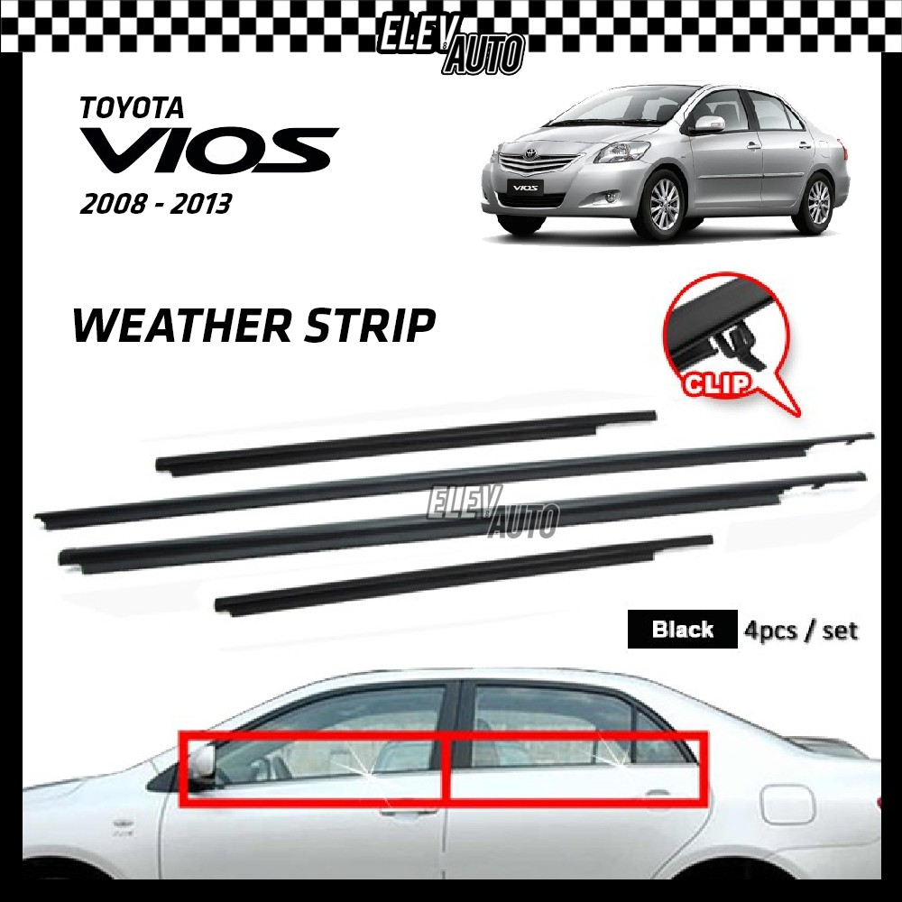 Toyota Vios 2008-2013 Weather Strip Weatherstrip Window Moulding Belt 4pcs (Black)