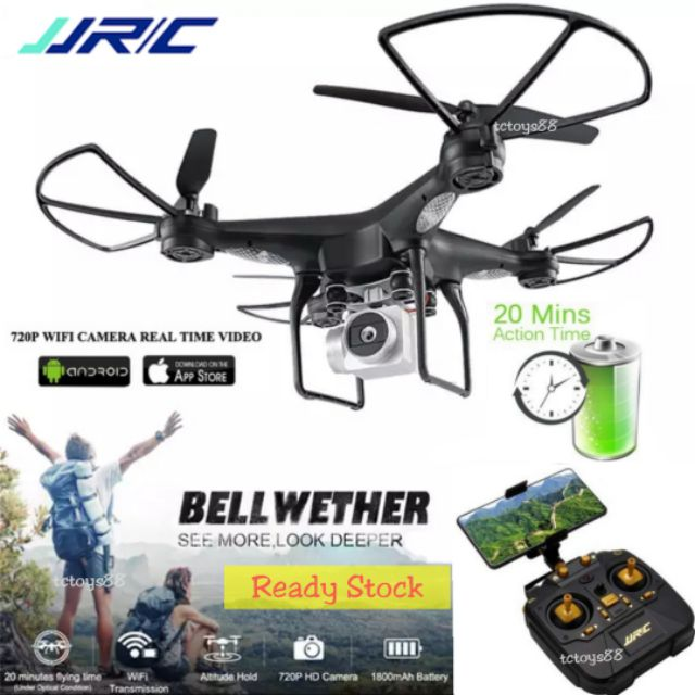 JJRC H68 RC QUADCOPTER 20 MINUTE FLIGHT WIFI FPV 720P ALTITUDE HOLD RC  DRONE TOY