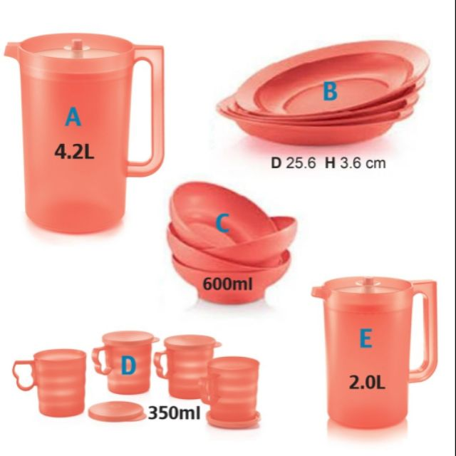 TUPPERWARE Coral Blooms Giant Pitcher 4.2L/2.0L/Mugs With Seal 350ml/ open house plate