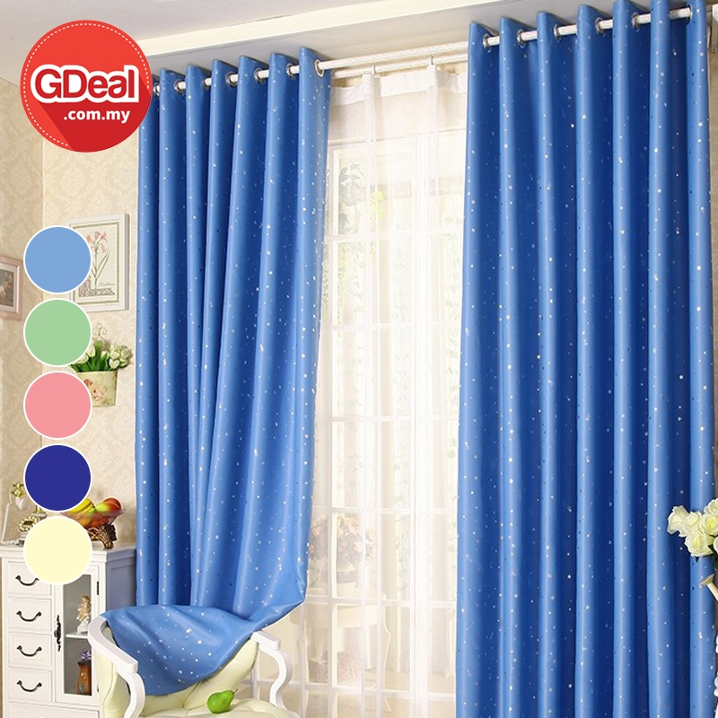 GDeal【Thick Curtains】Blackout Curtain Small Stars Shading And Heat Insulation Washable Tingkap Pintu Langsir 100cmx130cm