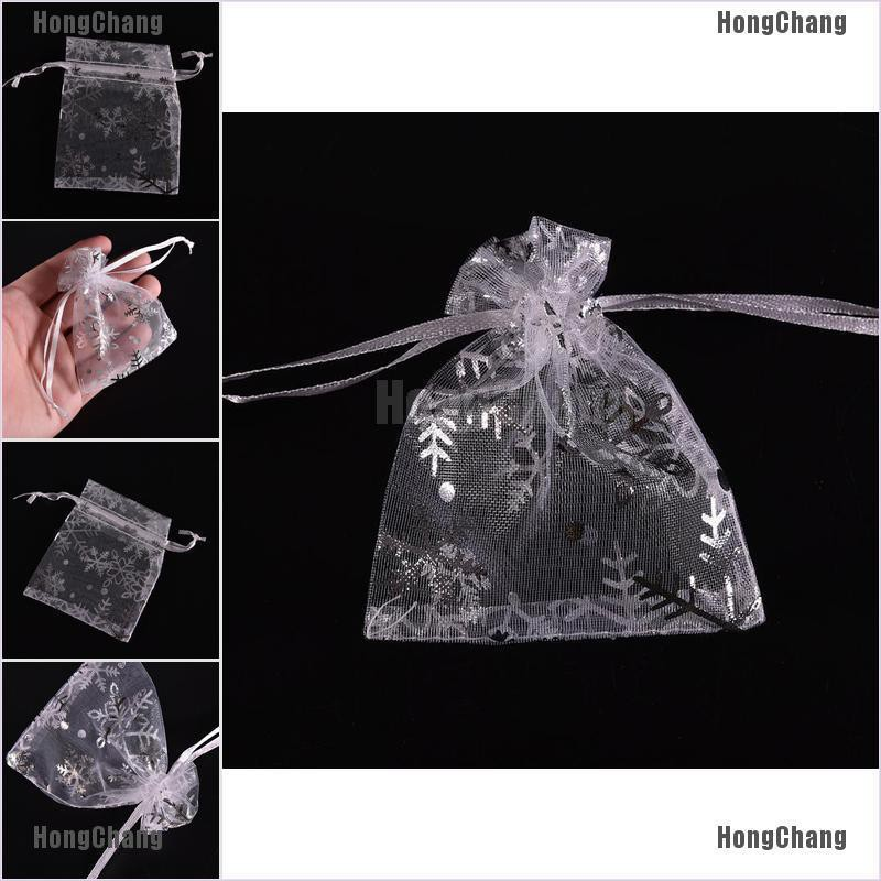 7 x 9 cm Christmas Snowflake Organza Gift Pouch Wedding Favour Bags Jewellery