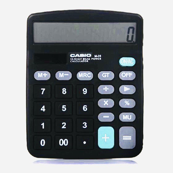 CASIO Electronic Standard Calculator with Dual Way Power M-28