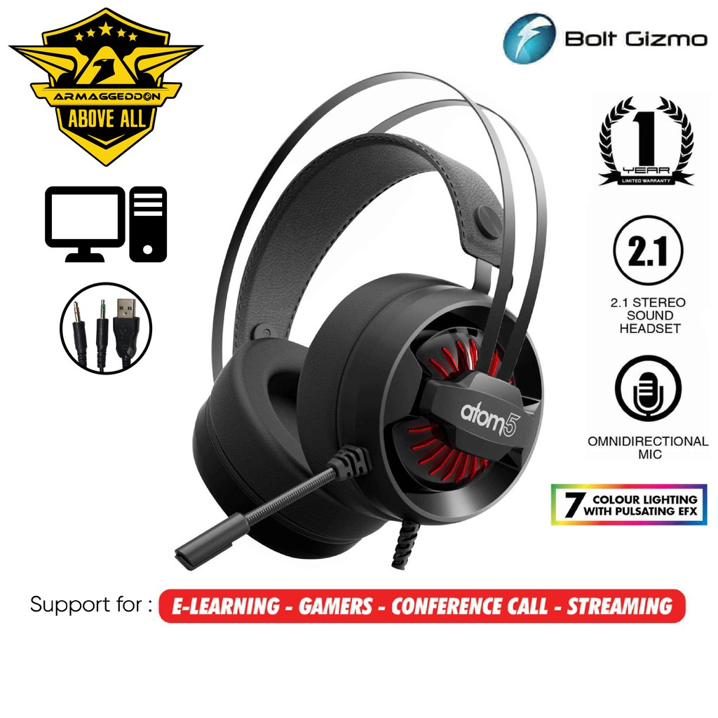 ARMAGGEDDON ATOM 5 Gaming Headset Stereo Gaming Headphones with Mic 50 mm 7 LED Lighting for Pc & Laptop Computer game