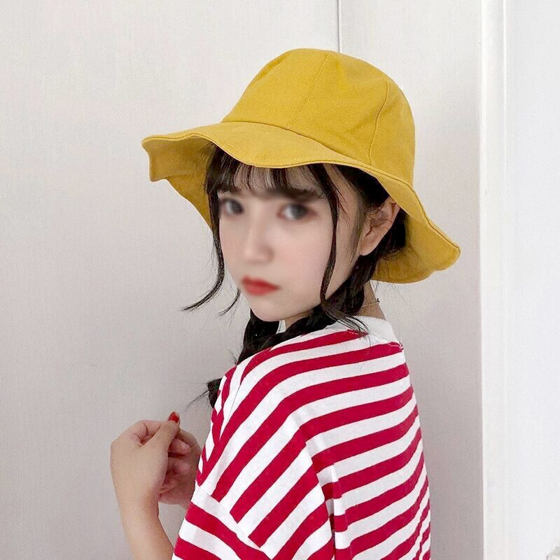 37d27288523923 ProductImage. ProductImage. Women All-match Solid Color Foldable Sunscreen  Personality Wide Brim Bucket Hat