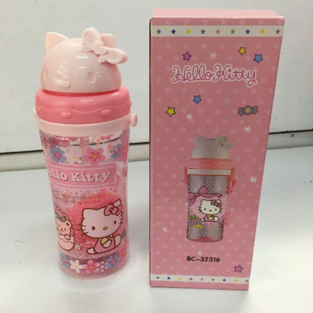 [ READY STOCK ]  370mL Cute Cartoon Hello Kitty Kid Baby Water Bottle Learning Cup Kitchen Jualan Murah Sport Air Minuman