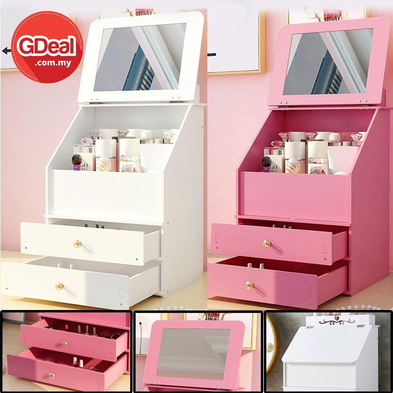 GDealDustproof Desktop Cosmetic Storage Box Skincare Organizer With Mirror Bekas Kosmetik