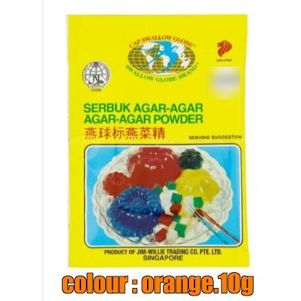 Swallow Globe Serbuk Agar-Agar / AGAR-AGAR Powder ~ Orange Colour 10g ( Free Fragile + Bubblewrap Packing )