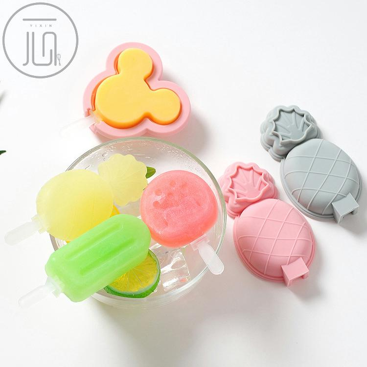 Cute Fruit Silicone Popsicle Mold with Cover Stick Ice Mould DIY Ice Cream  Mold Made Ice Grid Ice Cube